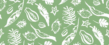 seamless green pattern with white tropical palm leaves 版權商用圖片