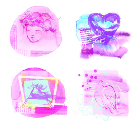 set of cute pink watercolor modern greeting cards for women and girls 版權商用圖片