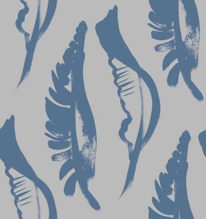 seamless gray pattern with dark blue tropical palm leaves arranged vertically