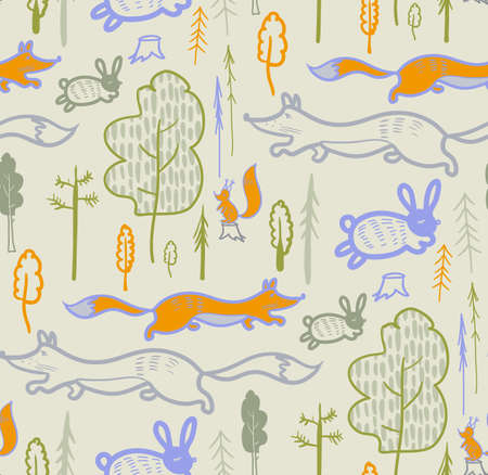 children is pattern with forest animals for outerwear and surface design 向量圖像
