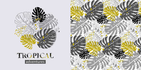 set of elements such as a print of silhouettes of tropical leaves 向量圖像