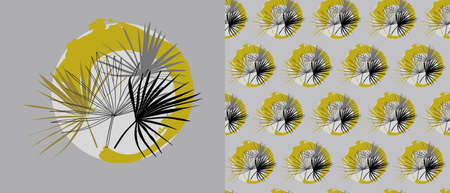 set of card and seamless pattern with Liviston palm