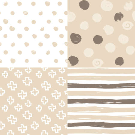 set of beige seamless geometric patterns in scandi style for kids 向量圖像