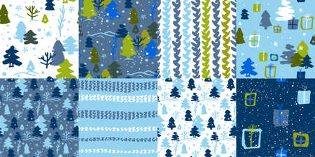 Christmas set of seamless patterns in blue and blue shades