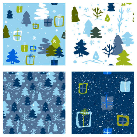 blue winter patterns for children with villages and snow for gift wrapping