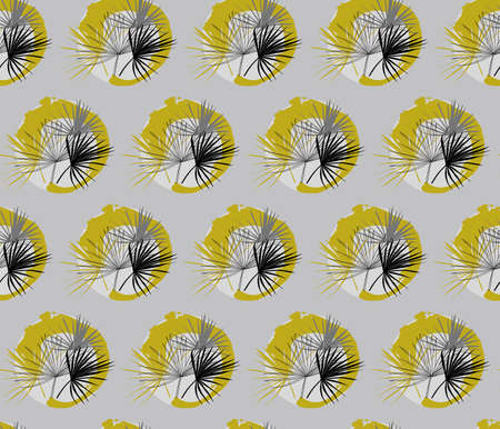 seamless pattern with Liviston palm leaves in circles drawn by hand in