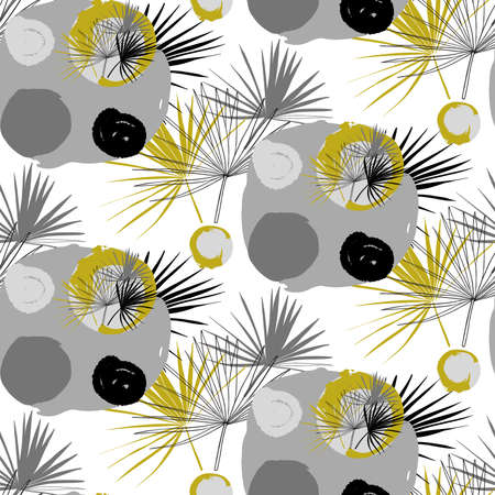 seamless horizontal pattern with Liviston palm leaves in circles drawn by hand in a scribble style