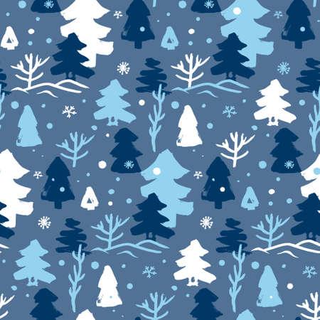 seamless winter pattern with white and blue Christmas trees 向量圖像