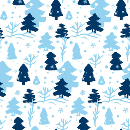 seamless winter pattern with blue and blue Christmas trees 向量圖像