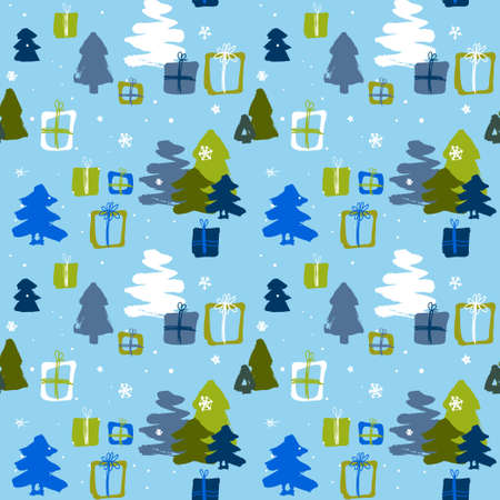 seamless winter pattern with green and blue Christmas trees and and gifts