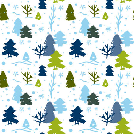 seamless winter pattern with green and blue Christmas trees 向量圖像