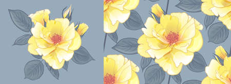 SEAMLESS PATTERN WITH YELLOW ROSES and a bouquet of yellow roses