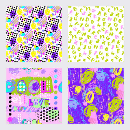 set of modern patterns with geometric elements in the abstract style 版權商用圖片