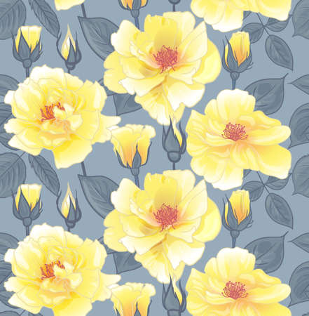 floral pattern with yellow roses for surface design, as well as packaging and textile