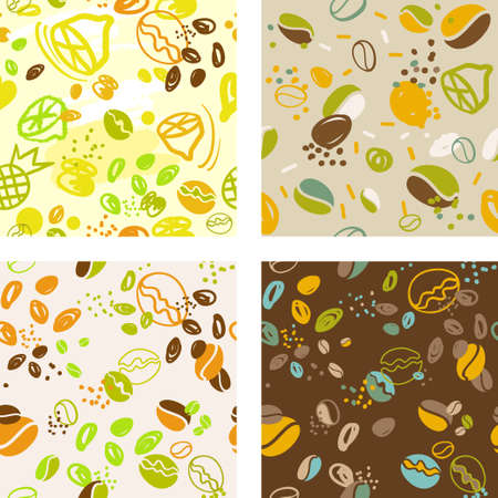 set of seamless patterns with stylized coffee beans drawn by hand