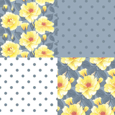 SET OF floral pattern with yellow roses for surface design, as well as packaging and textile