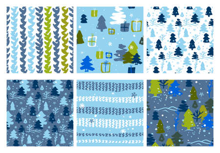 set of Christmas patterns for children in blue shades with Christmas trees and a knitted seamless pattern