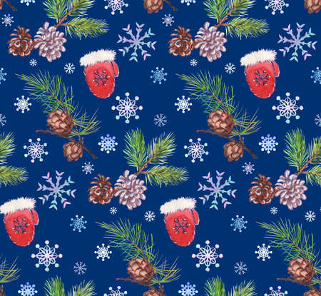 winter pattern with santa claus mitten and spruce branch with cones