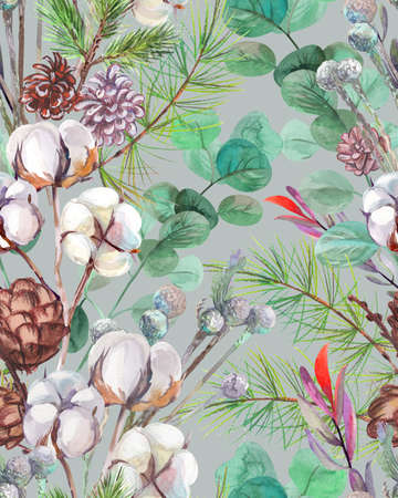 festive plant winter pattern with cotton and pine cones