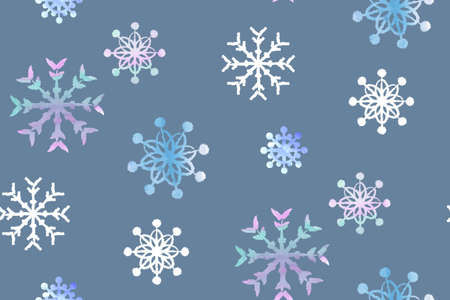 seamless winter pattern with snowflakes painted in watercolor on a blue background
