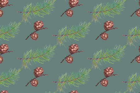 winter seamless pattern with larch cones and spruce branches 版權商用圖片