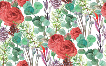 christmas winter seamless pattern with fir branches and red rose