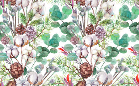 seamless winter pattern with pine cones and cotton and a branch 版權商用圖片