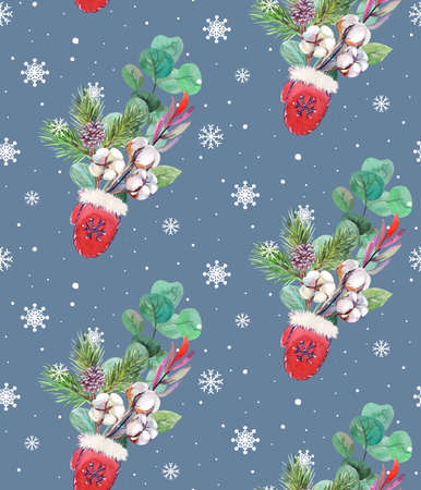 christmas seamless pattern with santa claus mitten