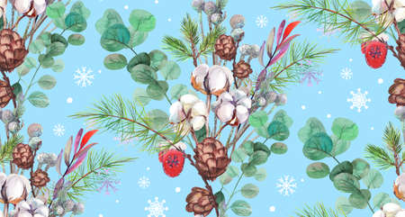 blue seamless new year pattern painted with watercolor paints 版權商用圖片