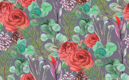 seamless winter pattern with cones sprigs of eucalyptus and red roses