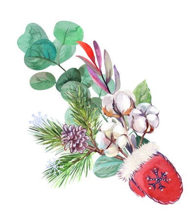 winter new year bouquet with santa claus mitten and fir branches 版權商用圖片