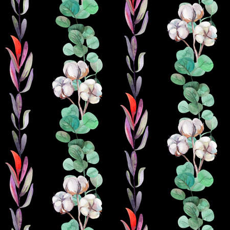 watercolor pattern with twigs of cotton and eucalyptus for surface design fabric 版權商用圖片