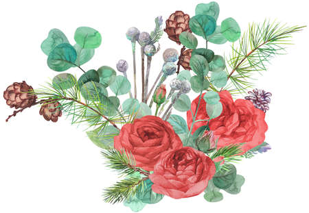 christmas bouquet with fir branches and red roses