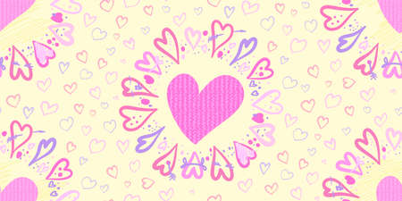 seamless pattern for Valentine is day With a circle of Hearts drawn by hand