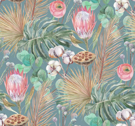 delicate watercolor seamless pattern with tropical dried flowers