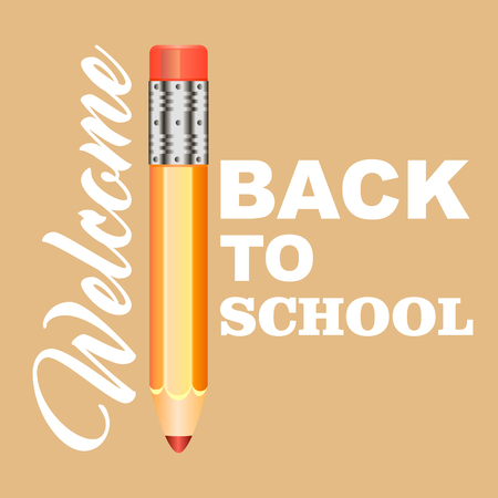 back to school text. background with text and pencil