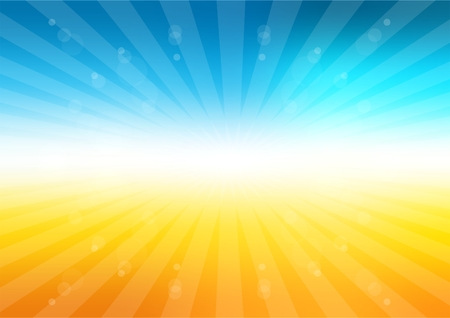 fresh concept: summer background with sun rays. Bright sky and light particles Illustration