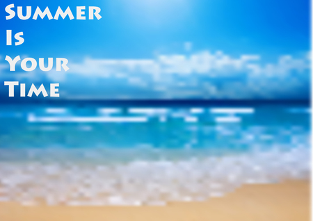 Sunny beach with bokeh effect. Summer background. sea, sky and sand