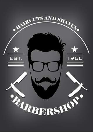 shop sign: a man with a beard and text. Barber shop, haircut and shave