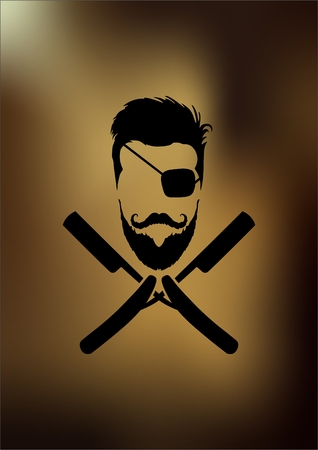 groomed: a man with a beard in the form of a pirate on vintage background Illustration