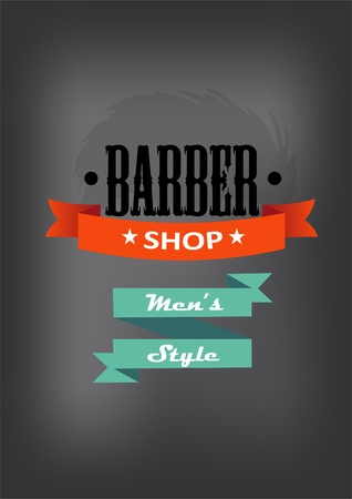 groomed: Barber shop logo with a banner and text. Mens style. on a gray background