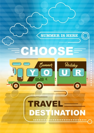 mobile home on the summer background. the best family travel. choose your travel destination. family van