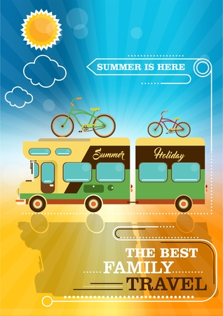 family van: mobile home on the summer background. the best family travel. choose your travel destination. family van