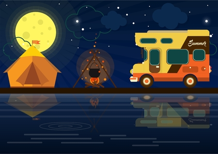 family van: a mobile home on the background of nature. camping in a tent. fire in nature. relaxing at the lake Illustration