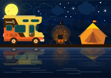 a mobile home on the background of nature. camping in a tent. fire in nature. relaxing at the lake Illustration