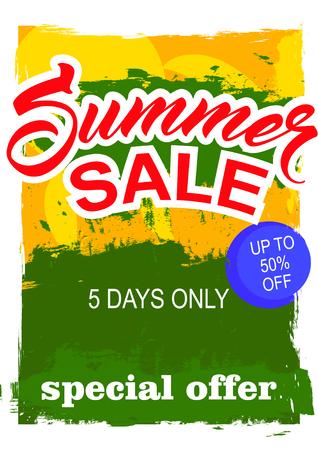 big summer sale.  background sale. special offer. background in grunge style. Illustration