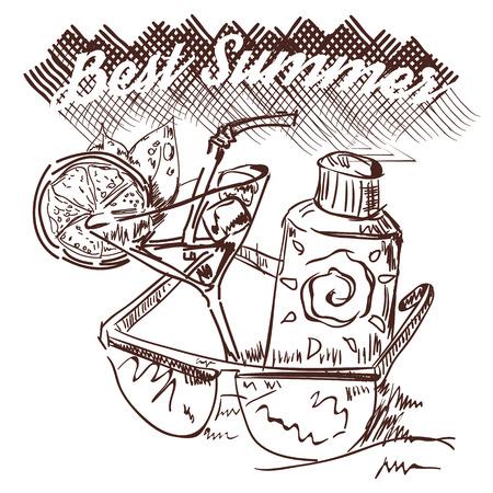 suntan lotion: the best summer ever. glasses, cocktail and suntan lotion at the beach. drawn summer set.