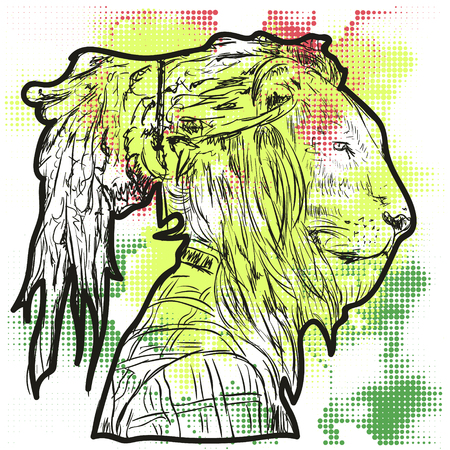 the lion with the human body. a man with the head of a lion. lion with dreads. lion Rastafarian.