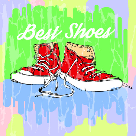best shoes. a pair of sneakers with the inscription. Vektorové ilustrace