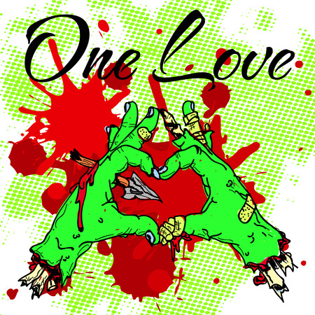 zombie hands in a heart shape. one love inscription. print on t-shirt. Illustration